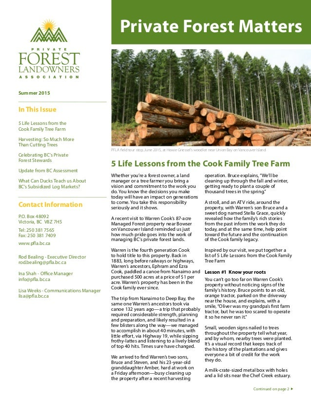 Private Forest Matters 5 Life Lessons from the Cook Family Tree Farm PFLA field tour stop, June 2015, at Howie Griessel's ...