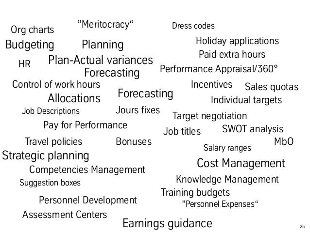 """25  """"Meritocracy""""  Org charts  Budgeting Planning  Forecasting  Control of work hours  Job Descriptions  Travel policies  ..."""