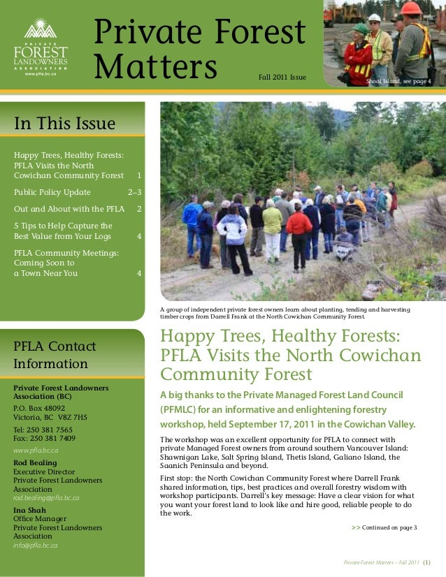 Private Forest                       Matters                                          Fall 2011 Issue                     ...