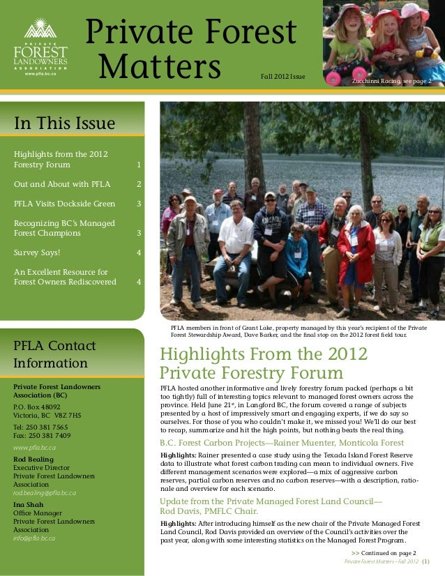 Private Forest                        Matters                                     Fall 2012 Issue                         ...