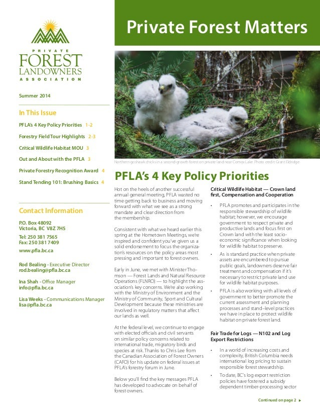 Private Forest Matters PFLA's 4 Key Policy Priorities Hot on the heels of another successful annual general meeting, PFLA ...