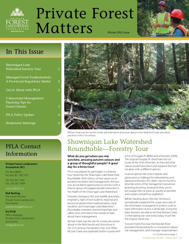 Private Forest                            Matters                                           Winter 2013 Issue             ...
