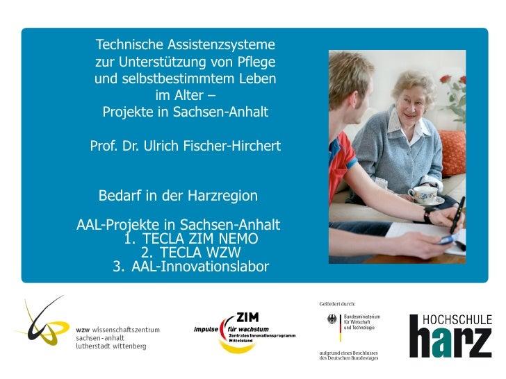 Technische Assistenzsysteme  zur Unterstützung von Pflege  und selbstbestimmtem Leben           im Alter –   Projekte in S...