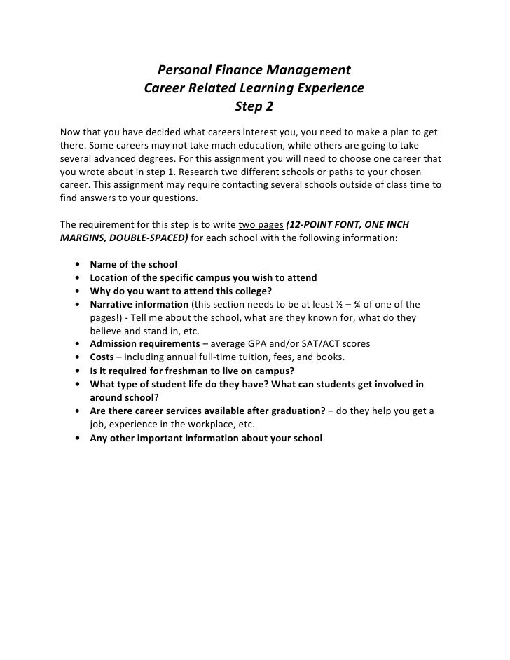 Personal Finance Management                   Career Related Learning Experience                                 Step 2Now...