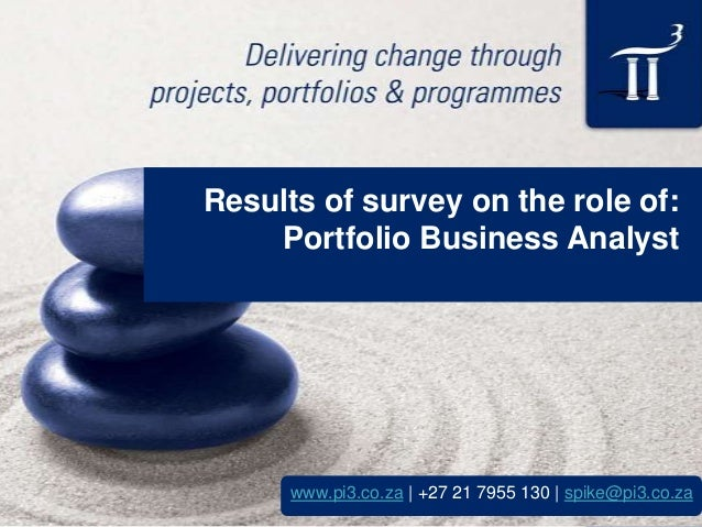Results of survey on the role of: Portfolio Business Analyst  www.pi3.co.za | +27 21 7955 130 | spike@pi3.co.za