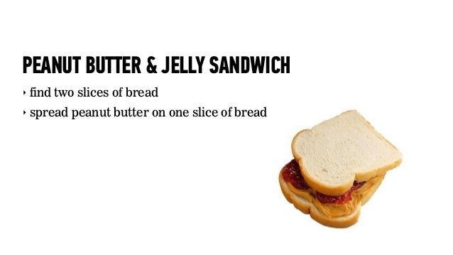 PEANUT BUTTER & JELLY SANDWICH‣ find two slices of bread‣ spread peanut butter on one slice of bread