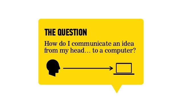 THE QUESTIONHow do I communicate an ideafrom my head… to a computer?