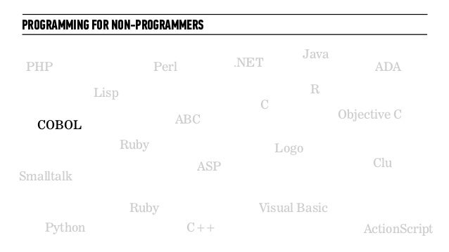PROGRAMMING FOR NON-PROGRAMMERSPHPRubyCC++PythonPerl .NETJavaObjective CVisual BasicASPRubyLispLogoSmalltalkABCADAActionSc...