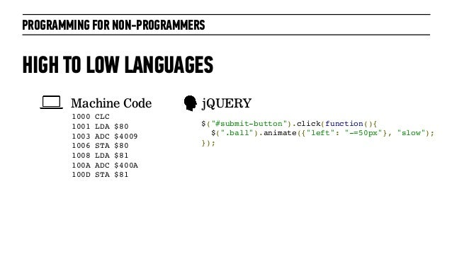 PROGRAMMING FOR NON-PROGRAMMERSHIGH TO LOW LANGUAGES1000 CLC  1001 LDA $80 1003 ADC $40091006 STA $801008 LDA ...