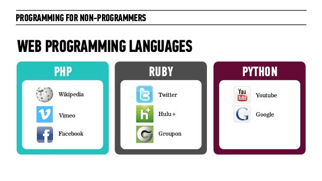 PYTHONPHPPROGRAMMING FOR NON-PROGRAMMERSWEB PROGRAMMING LANGUAGESRUBYWikipediaFacebookTwitterHulu+GrouponYoutubeGoogleVimeo