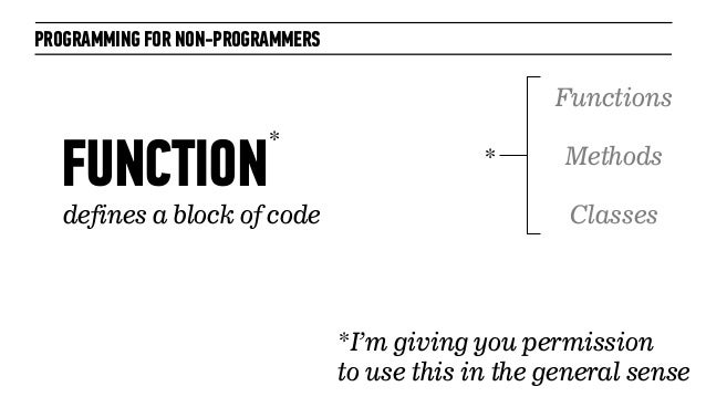 PROGRAMMING FOR NON-PROGRAMMERSFUNCTIONdefines a block of code*I'm giving you permissionto use this in the general senseFu...