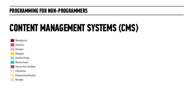 PROGRAMMING FOR NON-PROGRAMMERSCONTENT MANAGEMENT SYSTEMS (CMS)