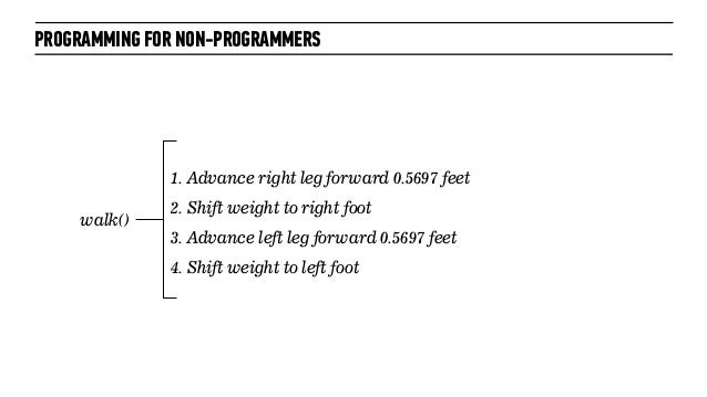 PROGRAMMING FOR NON-PROGRAMMERS1. Advance right leg forward 0.5697 feet2. Shift weight to right foot3. Advance left leg fo...