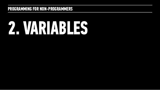 PROGRAMMING FOR NON-PROGRAMMERS2. VARIABLES