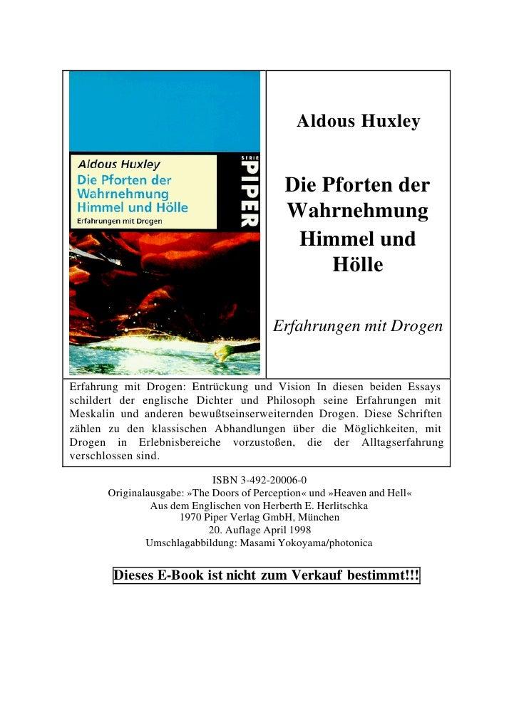 Aldous Huxley                                           Die Pforten der                                           Wahrnehm...