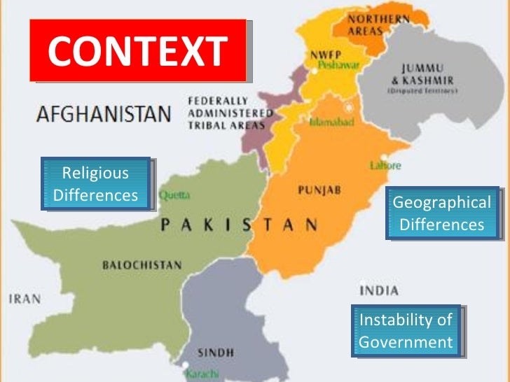 Geographical Differences Religious Differences Instability of Government CONTEXT