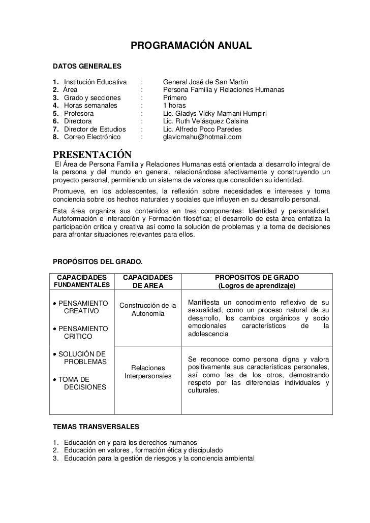 PROGRAMACIÓN ANUALDATOS GENERALES1.   Institución Educativa    :      General José de San Martín2.   Área                 ...