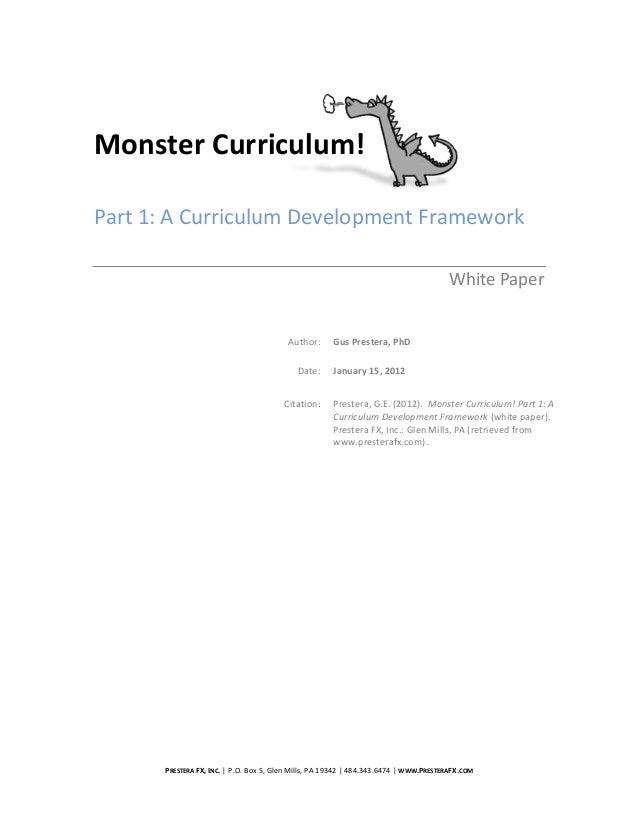 Monster Curriculum!Part 1: A Curriculum Development Framework                                                             ...