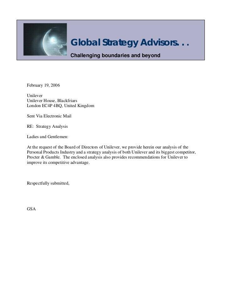 Global Strategy Advisors. . .                          Challenging boundaries and beyondFebruary 19, 2006UnileverUnilever ...