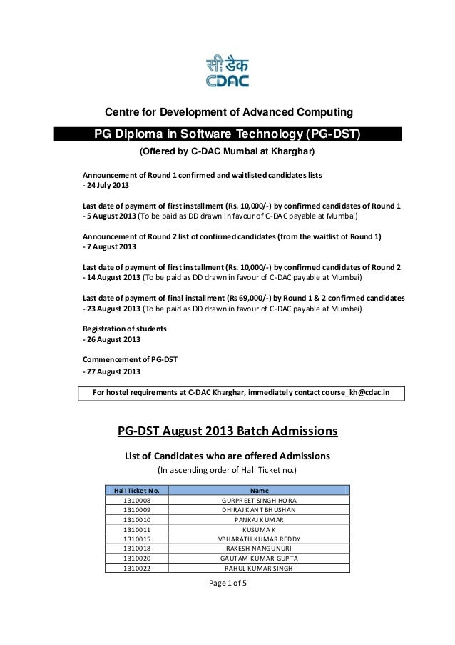 Page 1 of 5 PG-DST August 2013 Batch Admissions List of Candidates who are offered Admissions (In ascending order of Hall ...