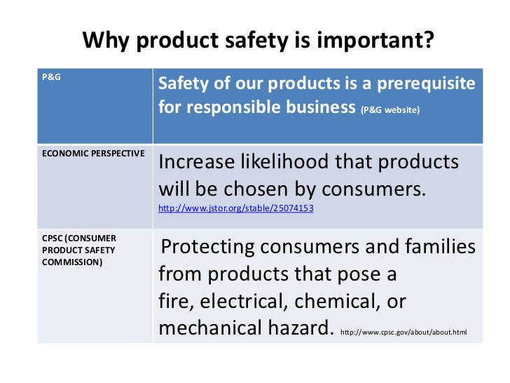 Why product safety is important?P&G                       Safety of our products is a prerequisite                       f...