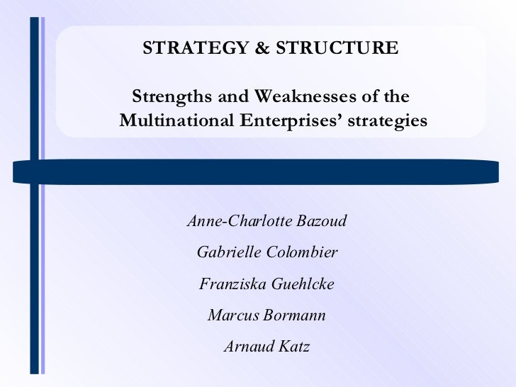 STRATEGY & STRUCTURE Strengths and Weaknesses of the Multinational Enterprises' strategies Anne-Charlotte Bazoud Gabrielle...