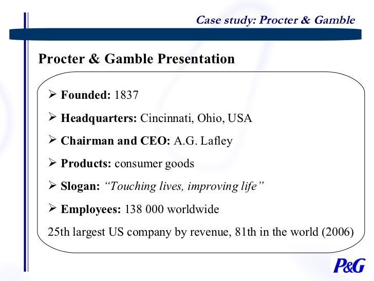 case study of proctor and gamble in japan Case studies a selection of case case study: procter and gamble background implement a turn japan impact assessment and planning.