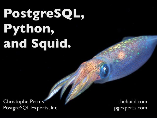 PostgreSQL,Python,and Squid.Christophe Pettus            thebuild.comPostgreSQL Experts, Inc.   pgexperts.com