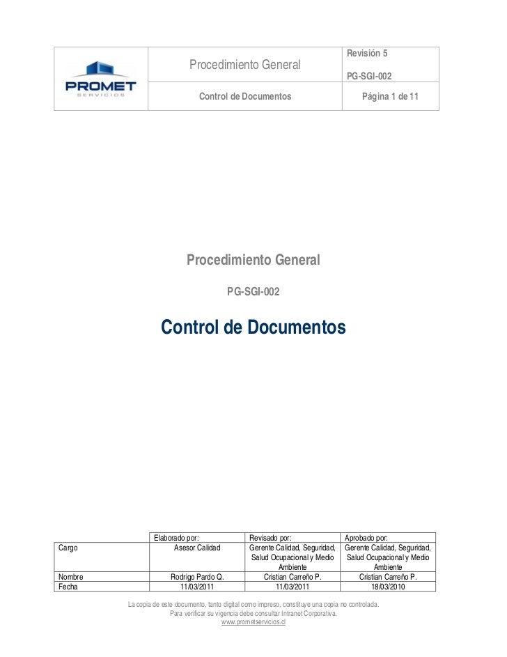 Revisión 5                               Procedimiento General                                                            ...