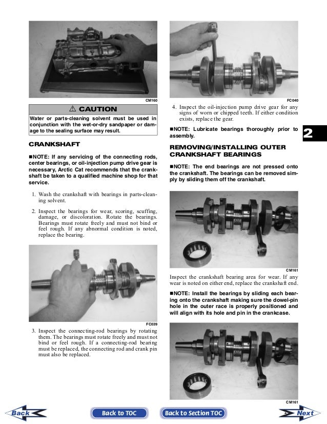 2-111 2 CM160 CRANKSHAFT NOTE: If any servicing of the connecting rods, center bearings, or oil-injection pump drive gear ...