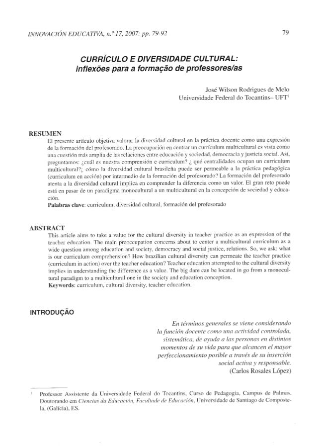 CURRICULO E DIVERSIDADE CULTURAL: inflexões para a formacão de professores/as