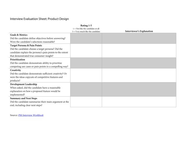 Interview Evaluation Sheet Product Design Question