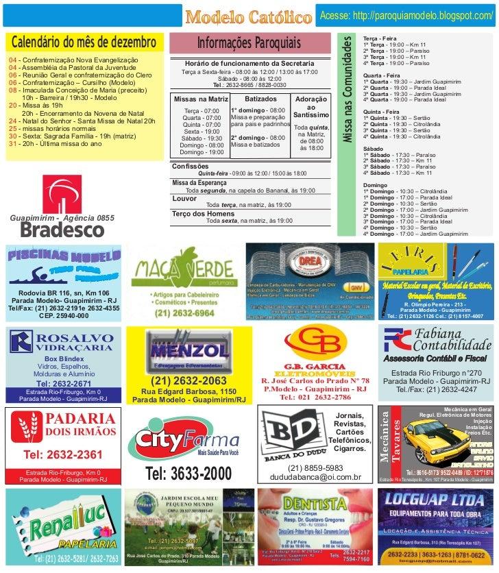 Acesse: http://paroquiamodelo.blogspot.com/ Calendário do mês de dezembro                               Informações Paroqu...