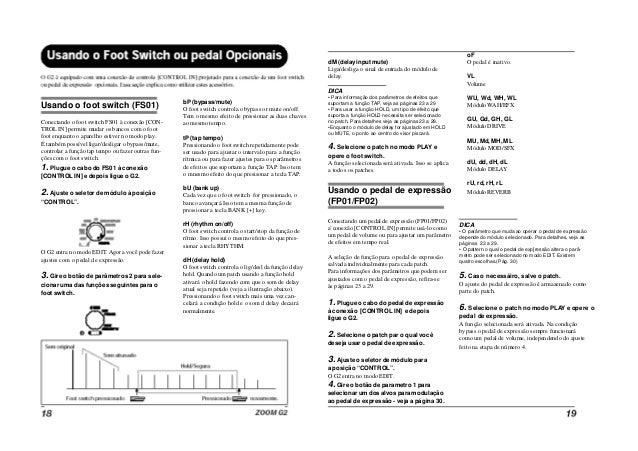 Manual pedaleira Zoom G2