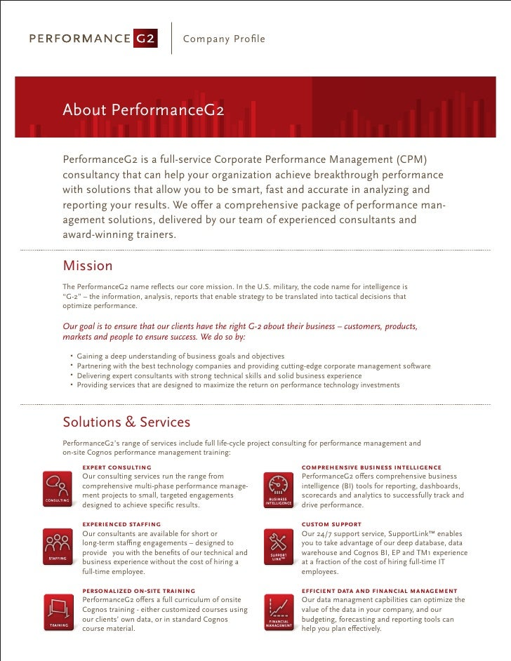 Company Profile     About PerformanceG2  PerformanceG2 is a full-service Corporate Performance Management (CPM) consultancy...