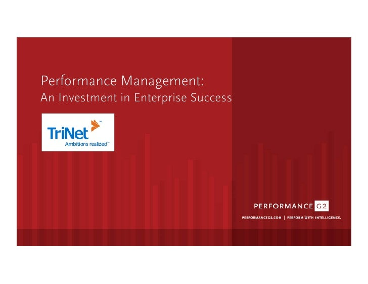 Performance Management:  An Investment in Enterprise Success