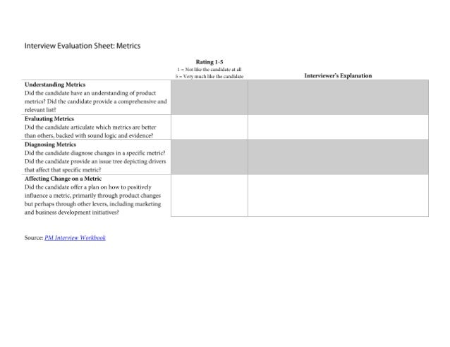 Interview Evaluation Sheet: Metrics Question