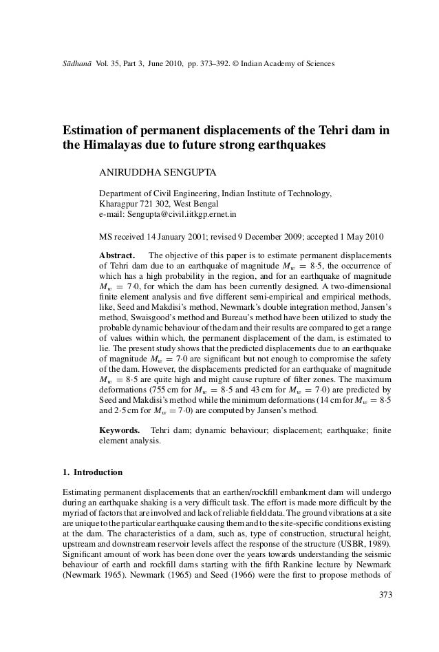 S¯adhan¯a Vol. 35, Part 3, June 2010, pp. 373–392. © Indian Academy of Sciences Estimation of permanent displacements of t...