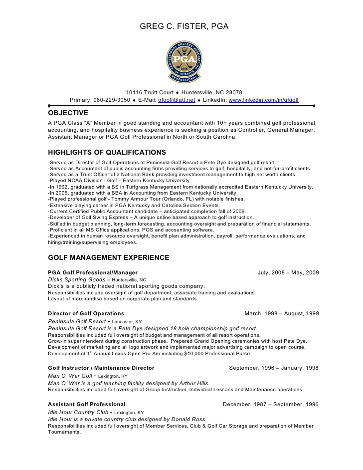 Sample Resume Golf Course Superintendant
