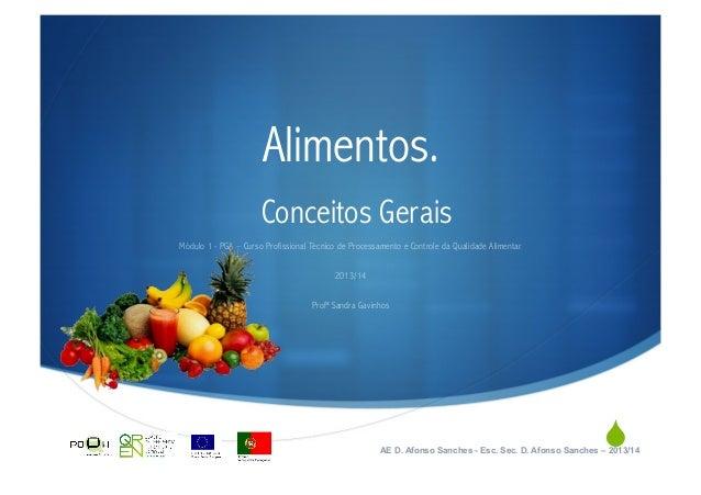 Alimentos. Conceitos Gerais Módulo 1 - PGA – Curso Profissional Técnico de Processamento e Controle da Qualidade Alimentar...