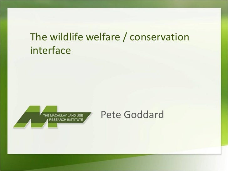 The wildlife welfare / conservationinterface               Pete Goddard