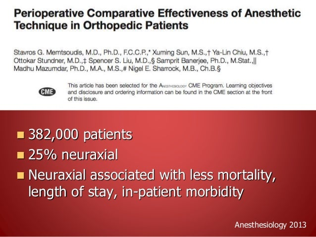  120 patients randomized to spinal vs TIVA for TKA  Primary outcome: LOS  No opioid (intrathecal or other) in spinal gr...