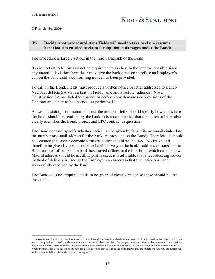 sample performance bond claim letter Performance Bond Workshop Exercise