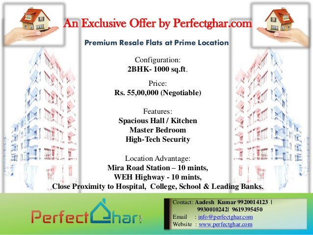 An Exclusive Offer by Perfectghar.com         Premium Resale Flats at Prime Location                       Configuration: ...