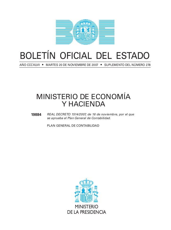 BOLETÍN OFICIAL DEL ESTADOAÑO CCCXLVII • MARTES 20 DE NOVIEMBRE DE 2007 • SUPLEMENTO DEL NÚMERO 278         MINISTERIO DE ...