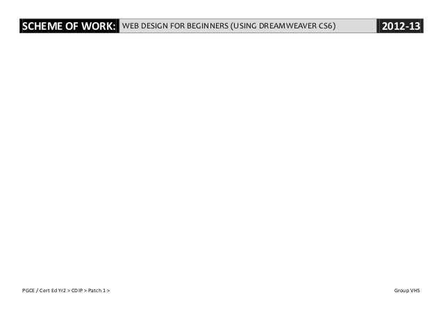 Scheme of Work for the Web Design for Beginners (using