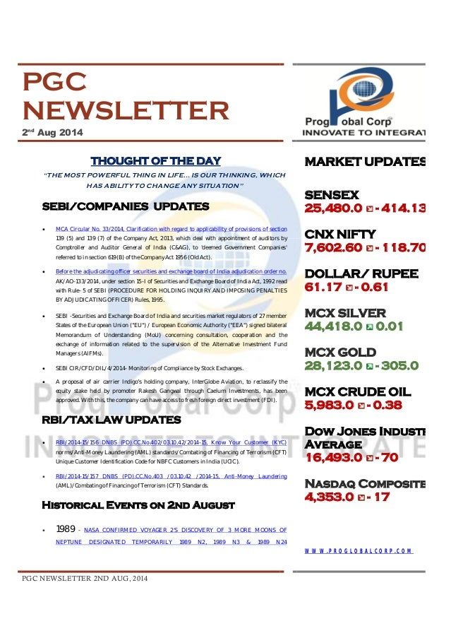 """PGC NEWSLETTER 2ND AUG, 2014 PGC NEWSLETTER 2nd Aug 2014 THOUGHT OF THE DAY """"THE MOST POWERFUL THING IN LIFE... IS OUR THI..."""