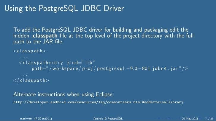 PostgreSQL Documentation Initializing the Driver