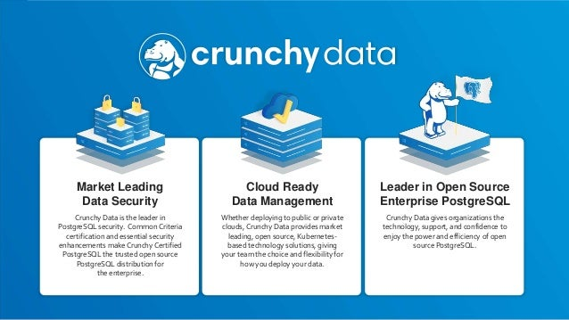 Market Leading Data Security Crunchy Data is the leader in PostgreSQL security. Common Criteria certification and essentia...