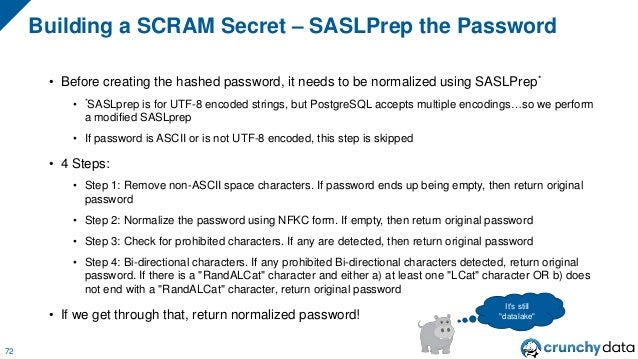 """• The first iteration for generating the salted password uses the following formula: • HMAC using SHA-256 with """"password"""" ..."""